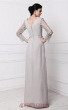 Sheath/Column Lace Chiffon Silver V-neck Long Sleeve Floor-length Formal Prom Dress(JT2683)