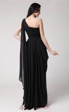 A-line Chiffon Black One Shoulder Floor-length Formal Prom Dress(JT2689)