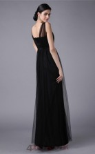 A-line Tulle Black Strapless Floor-length Formal Prom Dress(JT2694)