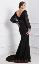 Black Chiffon Trumpet/Mermaid V-neck Floor-length Evening Dresses(JT2701)