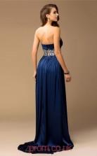Royal Blue Charmeuse A-line Strapless Floor-length Evening Dresses(JT2709)