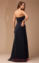 Black Chiffon A-line Strapless Floor-length Prom Formal Dresses(JT2714)