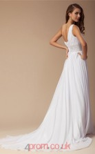 White Chiffon A-line One Shoulder Floor-length Evening Dresses(JT2715)