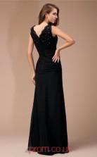Black Chiffon Sheath/Column V-neck Floor-length Evening Dresses(JT2716)