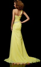 Yellow Chiffon Sheath/Column One Shoulder Floor-length Evening Dresses(JT2719)