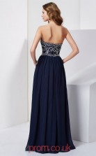 Dark Navy Chiffon A-line Strapless Floor-length Evening Dresses(JT2720)
