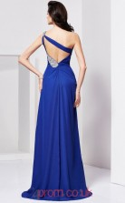 Blue Chiffon Sheath/Column One Shoulder Floor-length With Split Side Prom Formal Dresses(JT2726)