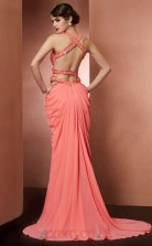 Watermelon Chiffon Sheath/Column Straps Floor-length Prom Formal Dresses(JT2727)