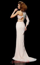 Ivory Chiffon Trumpet/Mermaid One Shoulder Floor-length Evening Dresses(JT2737)