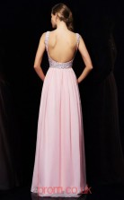 Blushing Pink Chiffon A-line V-neck Floor-length Evening Dresses(JT2738)