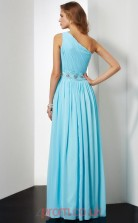 Pool Chiffon A-line One Shoulder Floor-length Prom Formal Dresses(JT2739)