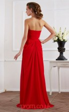 Red Chiffon Sheath/Column Strapless Floor-length With Split Side Prom Formal Dresses(JT2741)