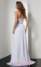 White Chiffon A-line Strapless Floor-length Evening Dresses(JT2742)