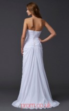 White Chiffon Sheath/Column Sweetheart Floor-length With Split Side Evening Dresses(JT2747)