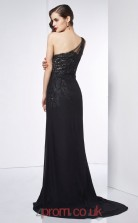 Black Chiffon Trumpet/Mermaid One Shoulder Floor-length With Split Side Evening Dresses(JT2752)