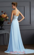 Light Pool Chiffon Sheath/Column One Shoulder Floor-length With Split Side Evening Dresses(JT2754)