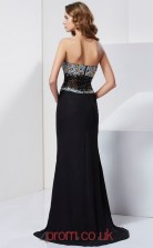 Black Chiffon Trumpet/Mermaid Sweetheart Floor-length With Split Side Evening Dresses(JT2759)