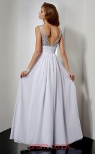 Ivory Chiffon A-line v-neck Floor-length Evening Dresses(JT2764)