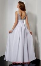 Ivory Chiffon A-line v-neck Floor-length Evening Dresses(JT2764)