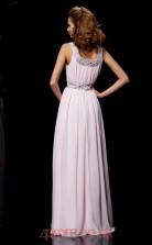 Blushing Pink Chiffon A-line Scoop Floor-length Evening Dresses(JT2769)