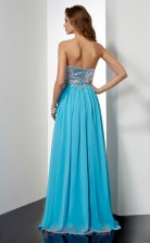 Pool Chiffon A-line Strapless Floor-length Evening Dresses(JT2771)