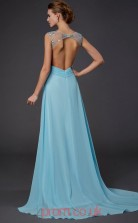 Light Pool Chiffon A-line Illusion Floor-length Evening Dresses(JT2773)