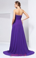 Purple Chiffon A-line Sweetheart Floor-length Prom Formal Dresses(JT2775)
