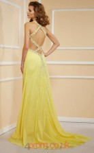 Yellow Chiffon Sheath/Column Halter Floor-length Evening Dresses(JT2785)