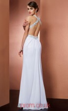 Ivory Chiffon Sheath/Column Halter Floor-length With Split Side Prom Formal Dresses(JT2788)