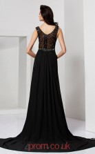 Black Chiffon Trumpet/Mermaid Scoop Floor-length With Split Side Prom Formal Dresses(JT2790)