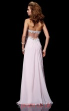 Blushing Pink Chiffon Sheath/Column Strapless Floor-length With Split Side Evening Dresses(JT2792)