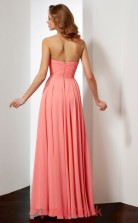 Watermelon Chiffon A-line Sweetheart Floor-length Prom Formal Dresses(JT2797)