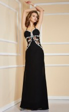 Black Chiffon Sheath/Column Halter Floor-length Wedding Formal Dresses(JT2802)