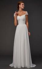 Ivory Tulle A-line Off The Shoulder Short Sleeve Floor-length Wedding Formal Dresses(JT2804)