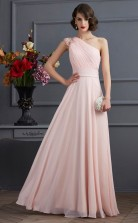 Pearl Pink Chiffon A-line One Shoulder Short Sleeve Floor-length Prom Formal Dresses(JT2807)