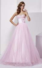 Blushing Pink Tulle A-line Sweetheart Floor-length Bridesmaid Dresses(JT2808)