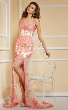 Pink Lace Trumpet/Mermaid V-neck Floor-length Bridesmaid Dresses(JT2809)