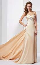 Ivory Charmeuse Sheath/Column Halter Floor-length Bridesmaid Dresses(JT2817)