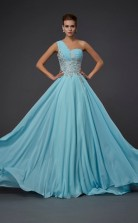 Champagne Chiffon A-line One Shoulder Floor-length Bridesmaid Dresses(JT2818)