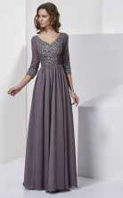 Grape Chiffon A-line v-neck 3/4 Length Sleeve Floor-length Bridesmaid Dresses(JT2821)