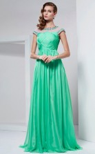 Blushing Pink Organza A-line Illusion Short Sleeve Floor-length Bridesmaid Dresses(JT2823)