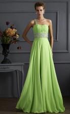 Jade Chiffon A-line One Shoulder Floor-length Bridesmaid Dresses(JT2824)