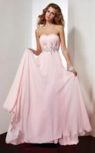 Blushing Pink Chiffon A-line Strapless Floor-length Bridesmaid Dresses(JT2826)