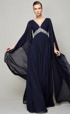 Dark Navy Chiffon A-line v-neck Long Sleeve Floor-length Prom Formal Dresses(JT2830)