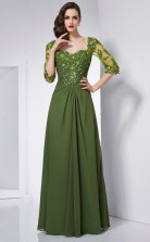 Clover Chiffon A-line Square Half Sleeve Floor-length Bridesmaid Dresses(JT2833)