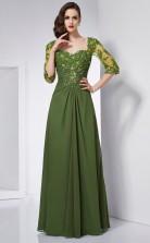 Clover Chiffon A-line Square Half Sleeve Floor-length Bridesmaid Dresses(JT2833)