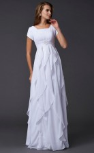 White Chiffon A-line Square Short Sleeve Floor-length Bridesmaid Dresses(JT2834)
