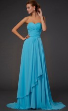 Pool Chiffon A-line Sweetheart Floor-length Prom Formal Dresses(JT2840)