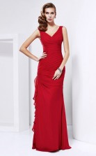 Red Chiffon Trumpet/Mermaid v-neck Floor-length Prom Formal Dresses(JT2845)