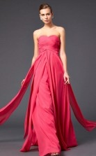 Red Chiffon Sheath/Column Sweetheart Floor-length Prom Formal Dresses(JT2846)